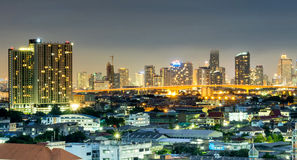 Skyscraper buildings in Bangkok under twilight sky Stock Photography
