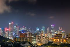 Skyscraper buildings and business downtown of Singapore at night Royalty Free Stock Images