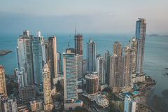 Skyscraper buildings, downtown city aerial of Panama City - Stock Photography