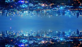 Free Skyscraper Buildings In Urban City, Bangkok, Thailand Upside Down At Night In Inception Sci-fi Futuristic Technology Fantasy Stock Image - 139481231