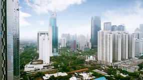 Skyscraper buildings at Jakarta Central Business District near Sudirman Road. JAKARTA - Indonesia. March 12, 2018: Skyscraper buildings at Jakarta Central royalty free stock images