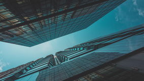 Skyscraper buildings and sky view stock video footage