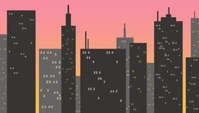 Skyscraper buildings at sunset. Dark gray buildings with some lights on, pink gradient background simulating sunset Royalty Free Stock Photo