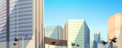 Skyscraper buildings view modern cityscape downtown horizontal banner flat. Vector illustration vector illustration