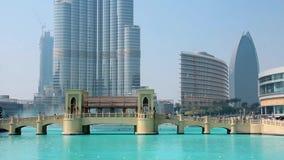 Skyscraper Burj Khalifa and singing fountains in Dubai, United Arab Emirates stock video