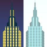 Skyscraper in cartoon flat style. Stock Photos
