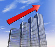 Skyscraper chart. One 3d render of four skyscrapers and an arrow pointing up, that demostrate the concept of growing royalty free illustration