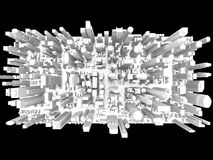 Skyscraper City. An abstract, 3D view, of the downtown district of an imaginary city Stock Photography
