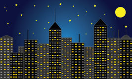 Skyscraper City at Night Royalty Free Stock Photo
