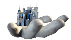 Skyscraper City In The Palm Of A Hand Royalty Free Stock Photos