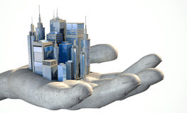 Skyscraper City In The Palm Of A Hand Stock Images