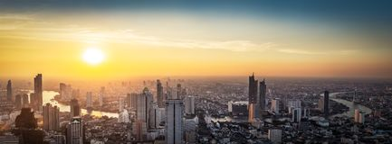 Thailand cityscape on sunset royalty free stock photography