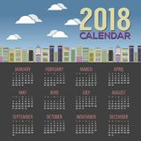 2018 Skyscraper Cityscape Flat Design Printable Calendar Starts Sunday Royalty Free Stock Photos