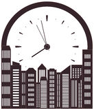 Skyscraper and clock - symbol morning work time Royalty Free Stock Photos