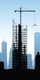 Skyscraper Construction. Cartoon silhouette of a skyscraper under construction Stock Photography