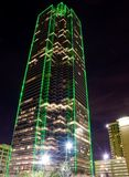 Skyscraper Dallas TX (night). Green outline Skyscraper in Dallas Texas at Night Royalty Free Stock Photos