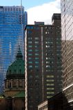Skyscraper downtown Montreal. View of skyscrapers in the streets of Montreal Stock Image