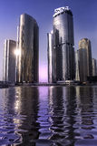 Skyscraper in dubai. Whater reflections Royalty Free Stock Images