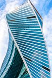 Skyscraper Evolution Tower in Moscow-City. Moscow - Sep 10, 2017: Skyscraper Evolution Tower in Moscow-City. Building with futuristic twisted design. Moscow-City stock image