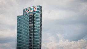 Skyscraper with Expo logo at Porta Nuova in Milan, Italy Royalty Free Stock Photos