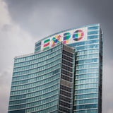 Skyscraper with Expo logo at Porta Nuova in Milan, Italy Stock Photography