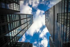 Skyscraper facades against blue skies Stock Photography