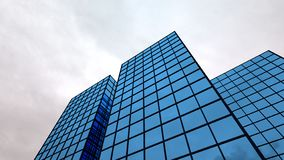 Skyscraper finance building blue glass windows 3D illustration stock illustration