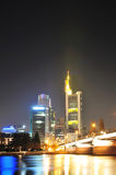 Skyscraper in Frankfurt city by night Royalty Free Stock Photos