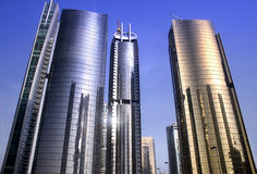 Skyscraper glas reflections. JLT Dubai day time Royalty Free Stock Photo
