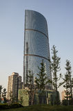 The skyscraper with glass curtain Stock Images