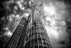 Skyscraper of glass and steel in black and white Stock Photos