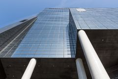Skyscraper with glass windows in Dutch city Rotterdam Stock Photo
