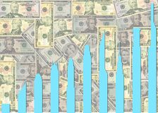 Skyscraper graph on dollars Royalty Free Stock Photo
