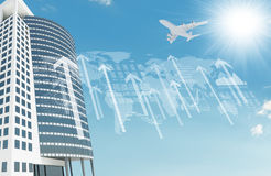 Skyscraper with graphs and arrows Stock Image