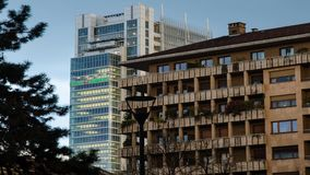 The skyscraper, headquarters, of the Intesa - SanPaolo bank. Turin, Italy, Piedmont. 13 April 2018. The skyscraper, headquarters, of the Intesa - SanPaolo bank stock footage