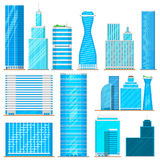 Skyscraper high buildings tower office, city architecture house business development apartment vector illustration Stock Images