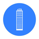 Skyscraper icon black. Single building icon from the big city infrastructure black. Royalty Free Stock Image