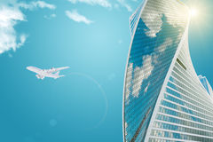 Skyscraper with jet. And sun, business concept Royalty Free Stock Images