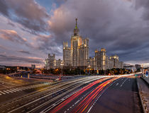 Skyscraper on Kotelnicheskaya Embankment and Traffic Trails Stock Images
