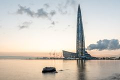 Skyscraper Lakhta center on the shore of the Gulf of Finland at sunset. Lahta-center. Russia, St. Petersburg - August 30, 2018. Skyscraper Lakhta center on the stock photo