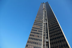 Skyscraper with lifts, many windows Stock Photo