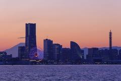 Skyscraper at Minatomirai, Yokohama in the twilight Royalty Free Stock Images