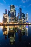 Skyscraper of moscow city with beautiful lighting and illumination of russian national colors royalty free stock images