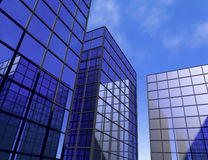 Skyscraper office blue mirror glass windows sky architecture building 3D illustration Stock Photos