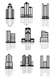 Skyscraper and office building icons Royalty Free Stock Photos