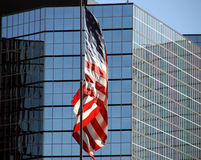 Skyscraper offices American Flag Royalty Free Stock Image
