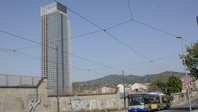 The skyscraper of the Piedmont Region designed by Massimiliano Fuksas. Turin, Piedmont region, Italy. 24 April 2018. The skyscraper of the Piedmont Region stock footage