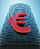 Skyscraper with red euro sign Stock Photo