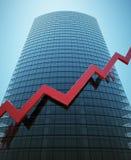 Skyscraper with red graph Stock Photo