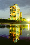 Skyscraper Reflection By Night Royalty Free Stock Photos